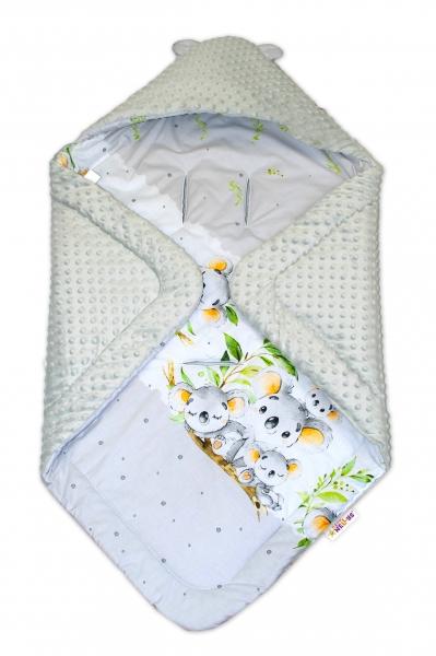 Oteplená zavinovacia deka s kapucňou minky, Baby Nellys - Koala, sivá