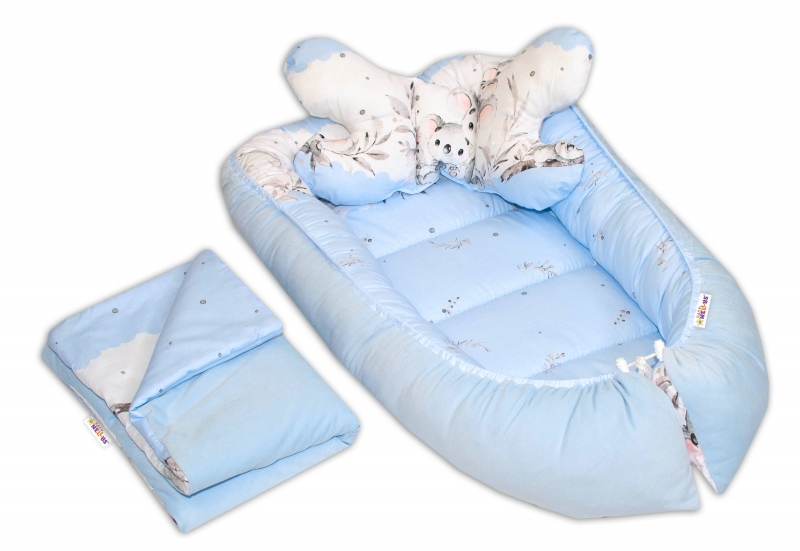 Sada komplet, obojstranné hniezdočko Baby Nellys Velvet, 55x85cm, Medvedík Koala - modrý
