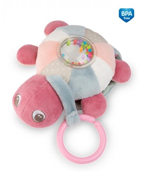 Závesná plyšová svietiaca hračka s melódiu a hrkálkou Canpol Babies Korytnačka - ružová