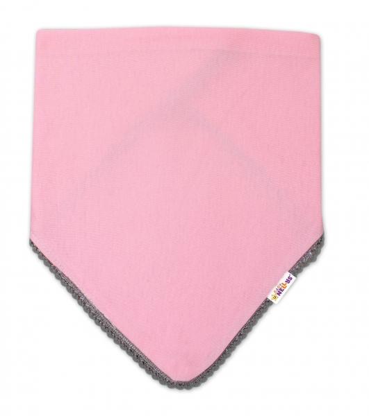 Detská bavlnená šatka na krk Baby Nellys - ružová/šedý lem