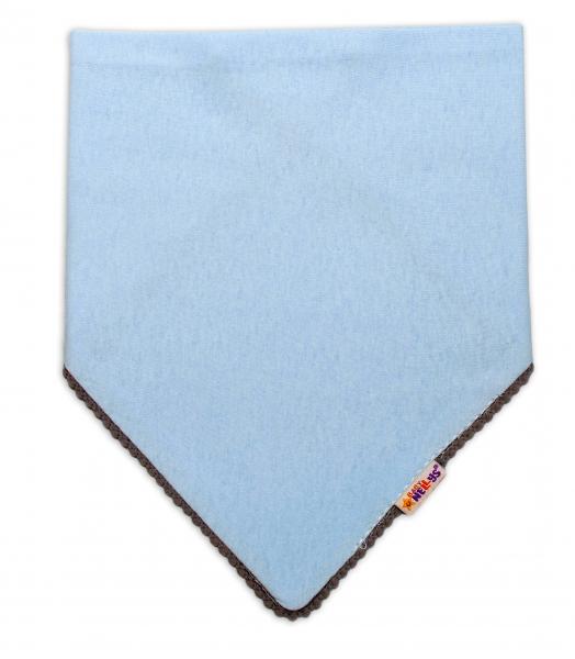 Detská bavlnená šatka na krk Baby Nellys - modrá/šedý lem