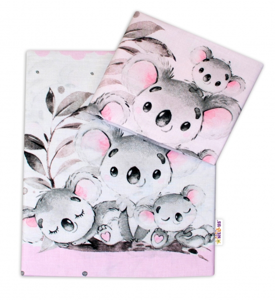 2-dielne bavlnené obliečky Baby Nellys - Medvedík Koala -  ružový, 120x90 cm