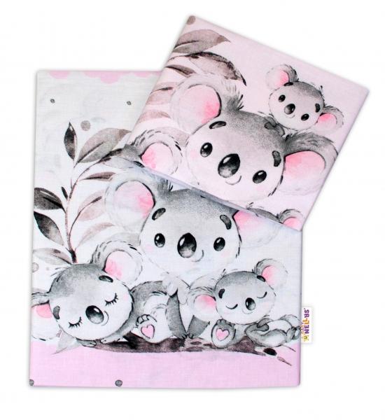 2-dielne bavlnené obliečky Baby Nellys - Medvedík Koala -  ružový, roz. 135 x 100 cm