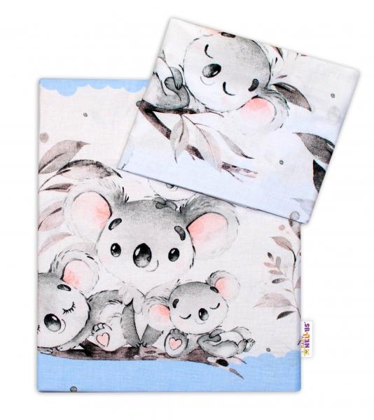 2-dielne bavlnené obliečky Baby Nellys - Medvedík Koala - modrý, 120x90 cm