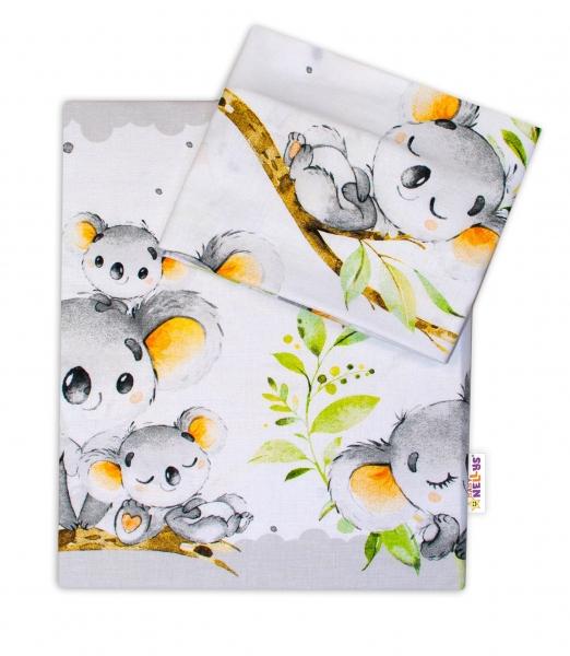2-dielne bavlnené obliečky Baby Nellys - Medvedík Koala - sivý, 120x90 cm