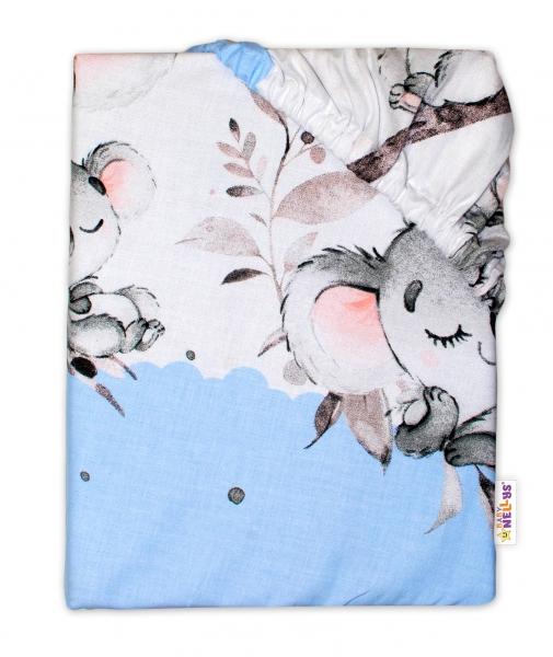 Baby Nellys Detské bavlnené prestieradlo do postieľky - Medvedík Koala, modrá