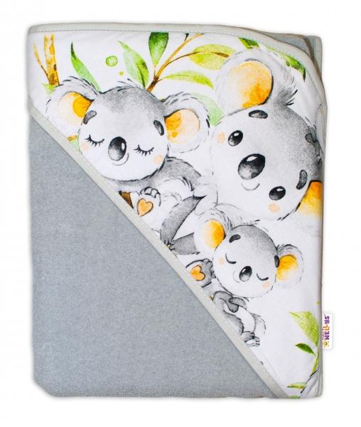 Detská termoosuška s kapucňou Baby Nellys, 100 x 100 cm, Medvedík Koala - sivá