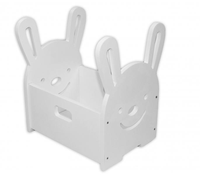 NELLYS Drevený box na hračky Zajačik - biely
