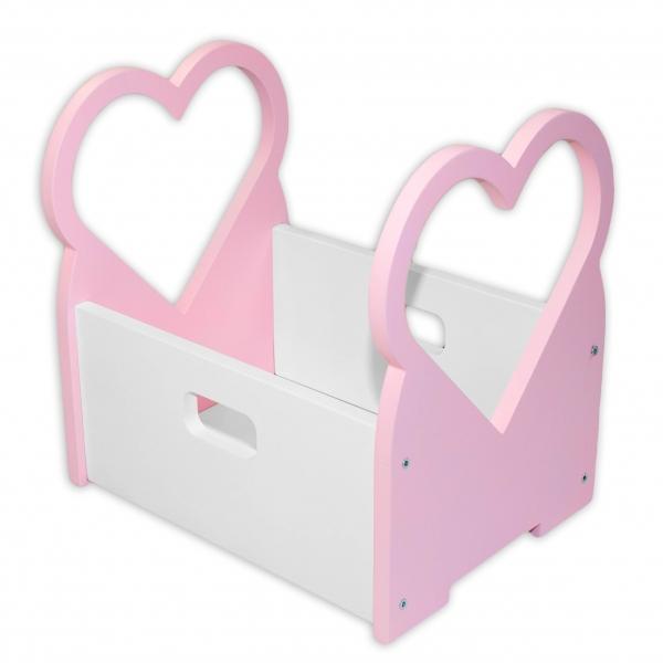 NELLYS Drevený box na hračky Srdiečko - ružové