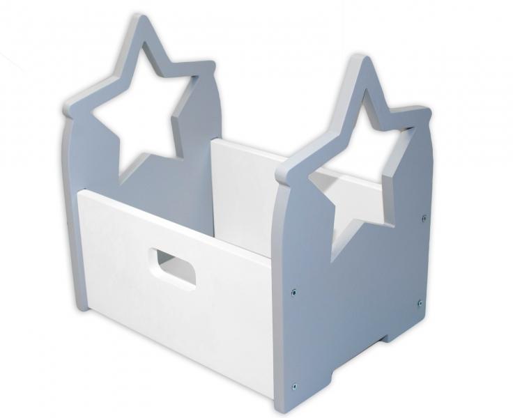 NELLYS Drevený box na hračky Hviezdička - sivá