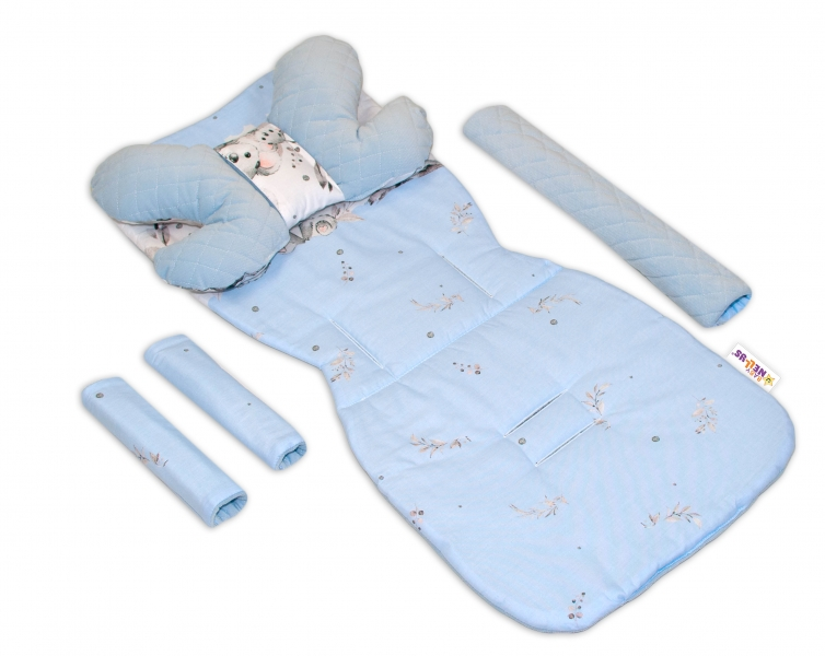 Oboustranny 5-ti dielny komplet do kočíka Velvet, Baby Nellys - Medvedík Koala, modré