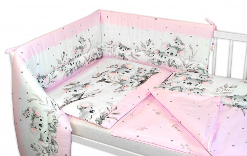 3-dielna sada mantinel s obliečkami Baby Nellys, Medvedík Koala, růžová, 135 x 100 cm