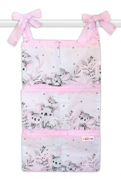 Bavlnený vreckár na postieľku Baby Nellys 6 vreciek, Medvedík Koala - růžový