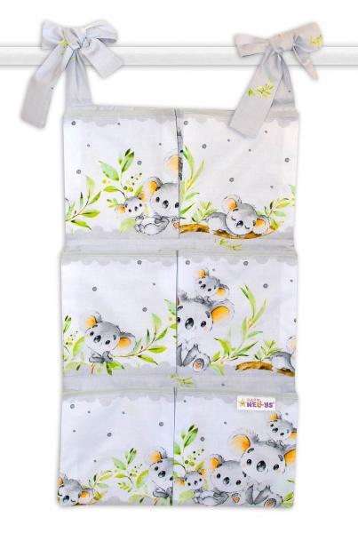 Bavlnený vreckár na postieľku Baby Nellys 6 vreciek, Medvedík Koala - sivý