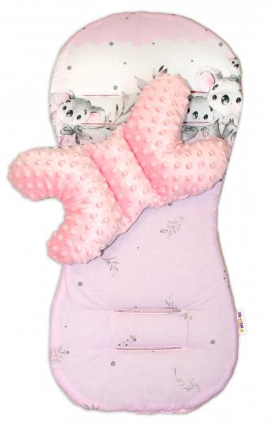 Sada do kočíka Baby Nellys Minky - podložka + vankúšik, Medvedík Koala - růžový