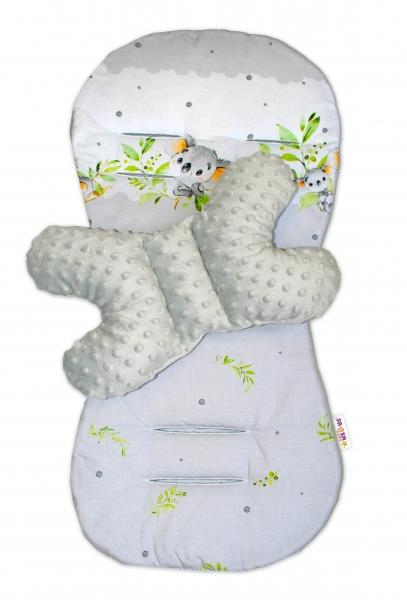 Sada do kočíka Baby Nellys Minky - podložka + vankúšik, Medvedík Koala - sivý