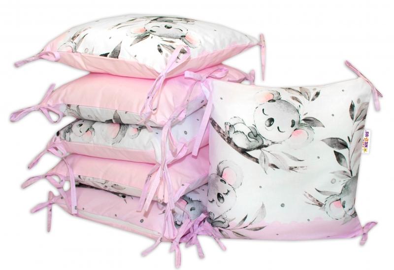 Bavlnený vankúšikový mantinel Baby Nellys Medvedík Koala - ružový