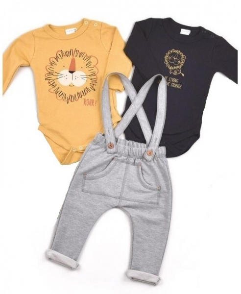 K-Baby Sada 2 x body dl. rukáv + 1 x tepláčky, Levíček, horčicová / čierna / sivá, veľ. 68
