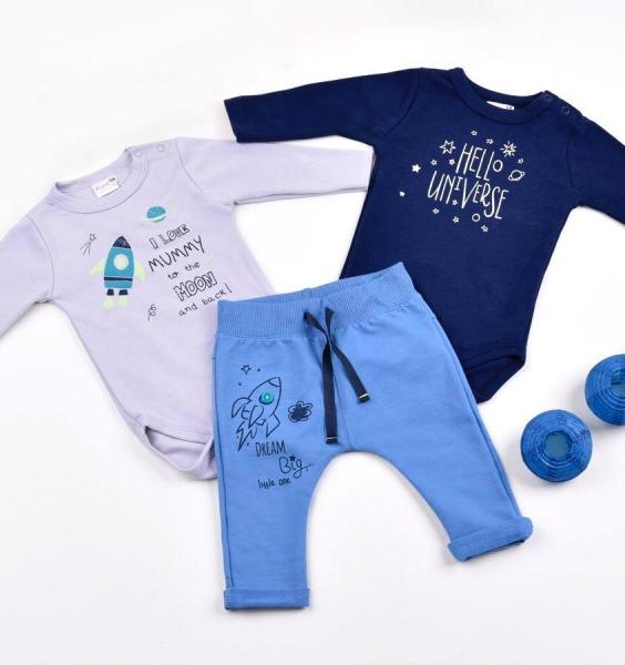 K-Baby Sada 2 x body dl. rukáv + 1 x tepláčky, Vesmír, granát/šedá/modrá
