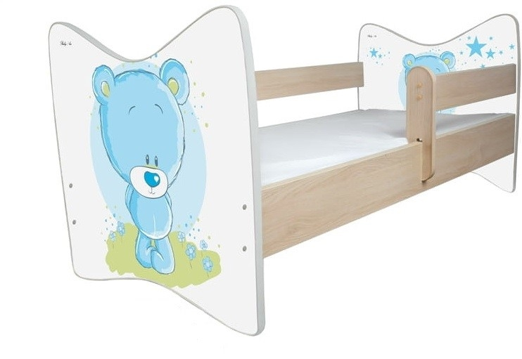 BabyBoo Detská postieľ Medvedík STYDLÍN modrý - 120x60 cm