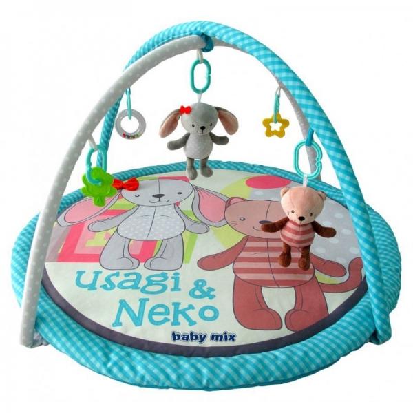 BABY MIX Vzdelávacia hracia deka - Mačka a zajačik