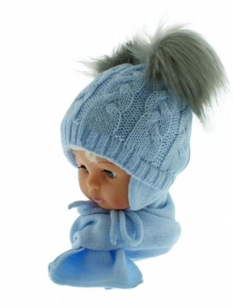 BABY NELLYS Zimná čiapočka s šálom - chlupáčkové bambuľky - sv. modrá/sivé