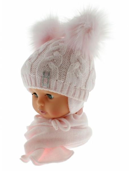 BABY NELLYS Zimná čiapočka s šálom - chlupáčkové bambuľky - sv. ružová/sv. ružové