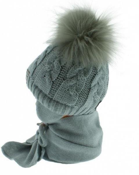 BABY NELLYS Zimná čiapočka s šálom - chlupáčkové bambuľky - sv. sivá/tm. sivé