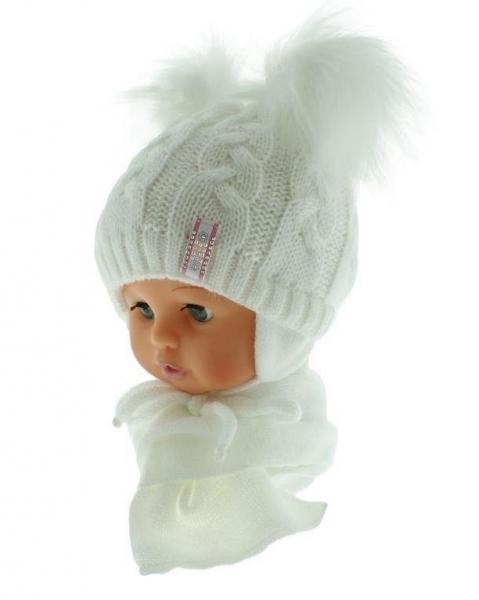 BABY NELLYS Zimná čiapočka s šálom - chlupáčkové bambuľky - biela/biele