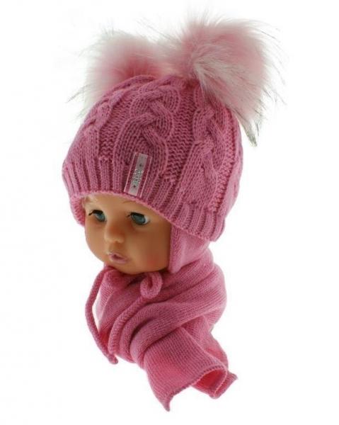 BABY NELLYS Zimná čiapočka s šálom - chlupáčkové bambuľky - tm. ružová/sv. ružové