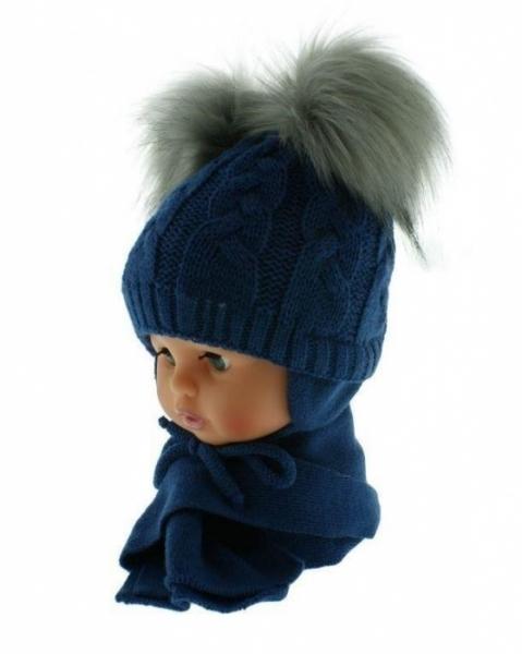 BABY NELLYS Zimná čiapočka s šálom - chlupáčkové bambuľky - granátová/sivé