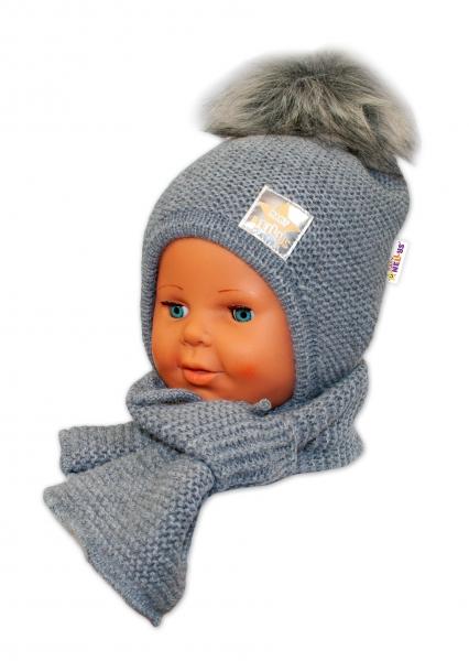 BABY NELLYS Zimné čiapočka s šálom - chlupáčková Bambulka - tm. sivá/sivá