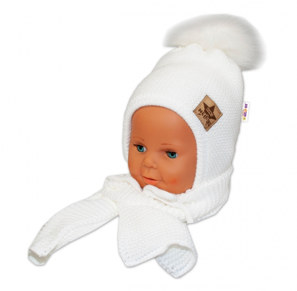 BABY NELLYS Zimná čiapočka s šálom - chlupáčková Bambulka - biela/biela