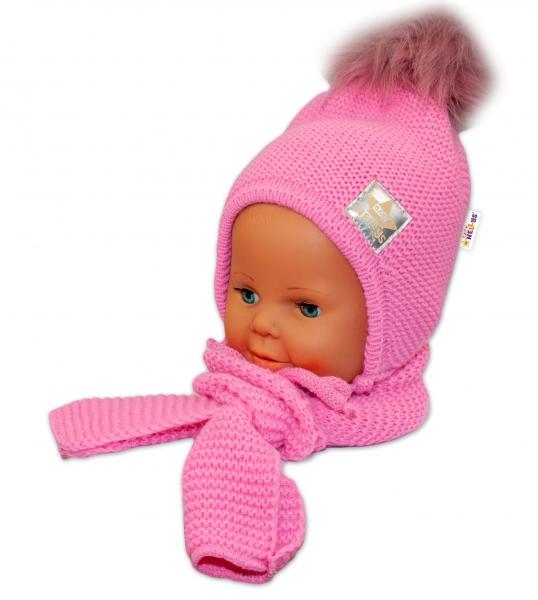 BABY NELLYS Zimná čiapočka s šálom - chlupáčková Bambulka - tm. ružová/tm. ružová
