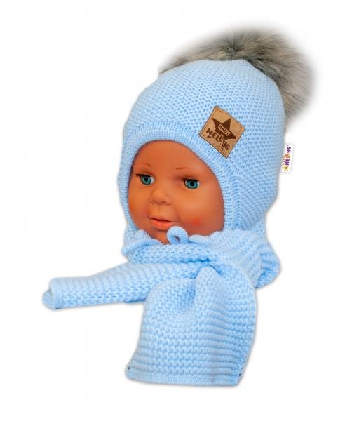BABY NELLYS Zimná čiapočka s šálom - chlupáčková Bambulka - sv. modrá/sivá