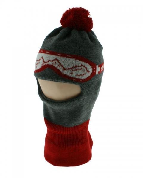 BABY NELLYS Zimná čiapočka/kukla s bambuľu - červená s okuliarmi, veľ. 3-7 rokov