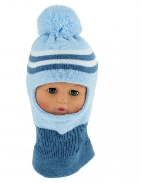 BABY NELLYS Zimná čiapočka / kukla s bambuli - sv. modrá s prúžkami, veľ. 1-2 rokov