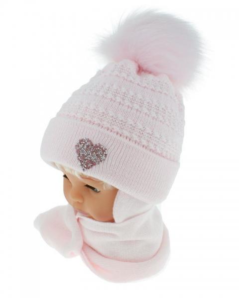 BABY NELLYS Zimné čiapočka s šálom - chlupáčková Bambulka - sv. ružová so srdiečkom, veľ. 12-24 m