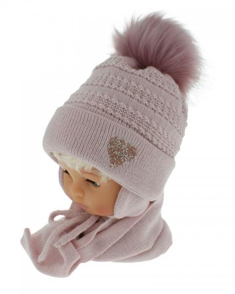 BABY NELLYS Zimné čiapočka s šálom - chlupáčková Bambulka - púdrově ružová so srdiečkom