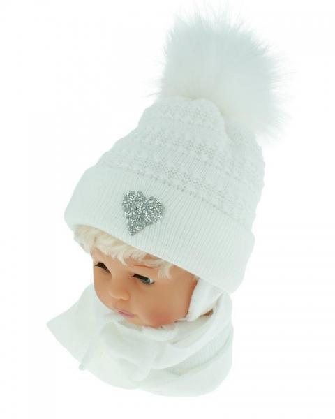 BABY NELLYS Zimné čiapočka s šálom - chlupáčková Bambulka - púdrová ružová so srdiečkom