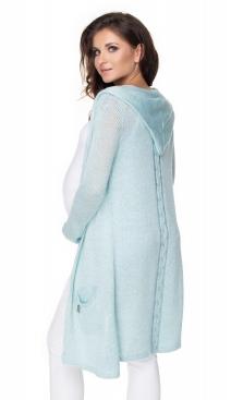 Be MaaMaa Dlhý tehotenský kardigan s kapucňou, sv. modrý