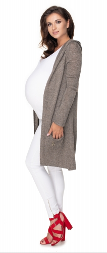 Be MaaMaa Dlhý tehotenský kardigan s kapucňou, hnedý