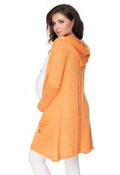 Be MaaMaa Dlhý tehotenský kardigan s kapucňou, pomaranč