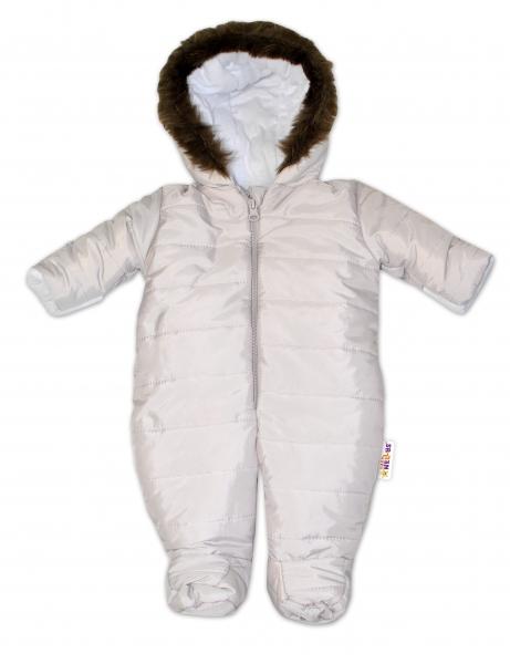 Kombinéza s kapucňou a kožušinkou Baby Nellys ®prošívaná - sv. sivá-56 (1-2m)