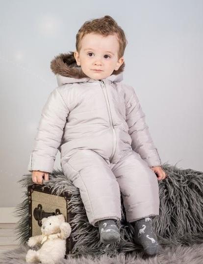 Kombinéza s kapucňou a kožušinkou Baby Nellys ®prošívaná, bez chodidiel - sivá, veľ. 80-80 (9-12m)
