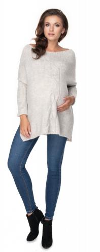 Voľný tehotenský pulóver svetlo šedý - vzor pletený vrkoč
