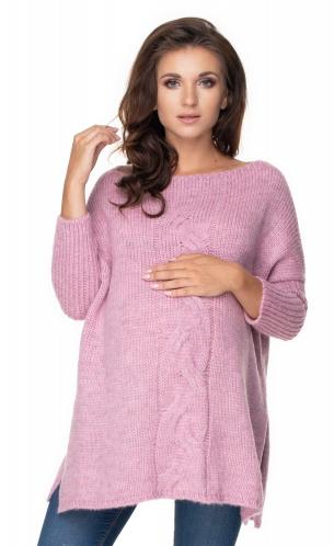 Be Maamaa Voľný tehotenský sveter fialový - vzor pletený vrkoč
