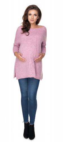 Voľný tehotenský pulóver lila - vzor pletený vrkoč