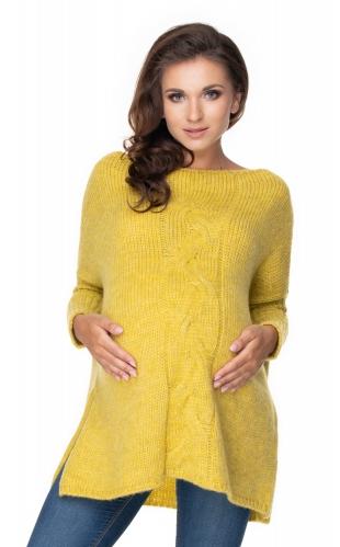 Be Maamaa Voľný tehotenský sveter horčica - vzor pletený vrkoč