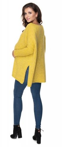 Voľný tehotenský pulóver horčica - vzor pletený vrkoč